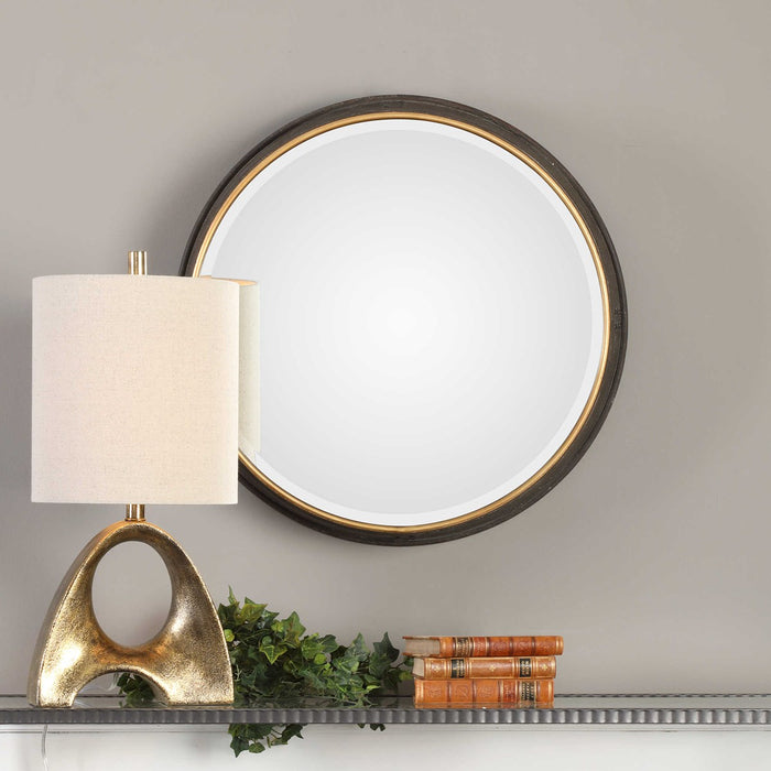 Sturdivant Antiqued Gold Round Mirror