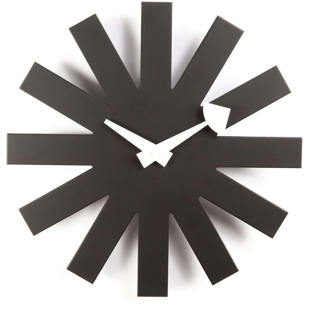 Mid Century Modern Reproduction Asterisk Clock   Black Inspired By George  Nelson