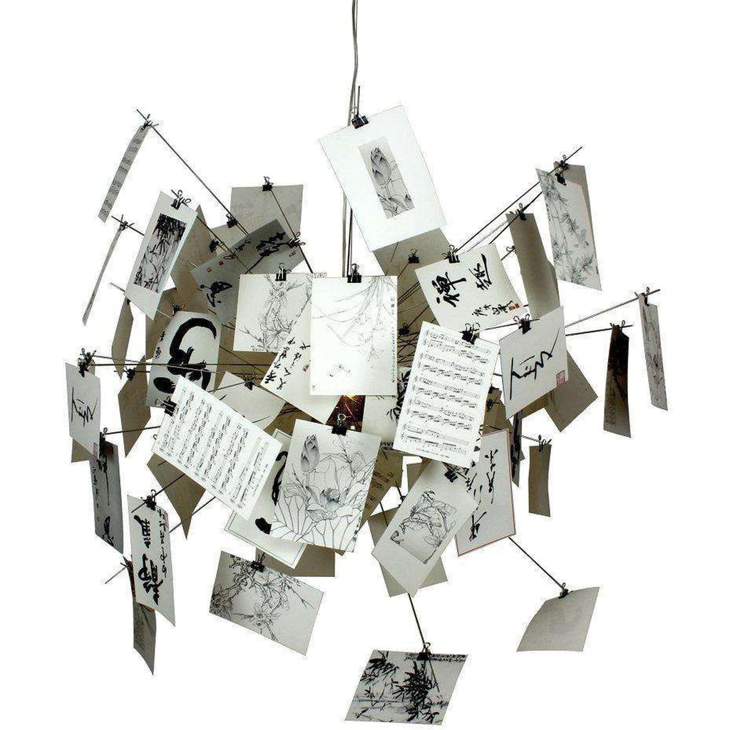 Mid-Century Modern Reproduction Zettel'z 5 Photograph Momento Chandelier Inspired by Ingo Maurer