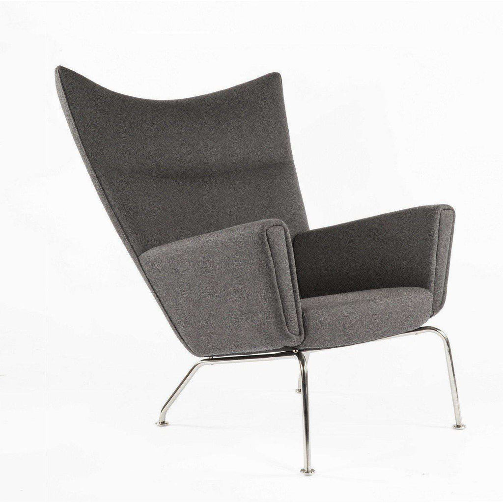 Mid-Century Modern Reproduction CH445 Wing Chair - Charcoal Inspired by Hans Wegner