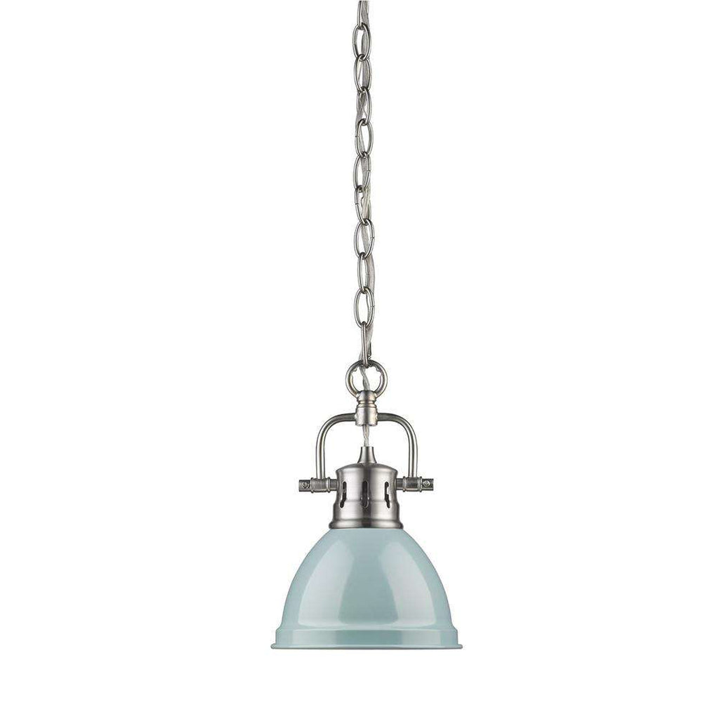 Duncan Mini Pendant with Chain in Pewter with a Seafoam Shade