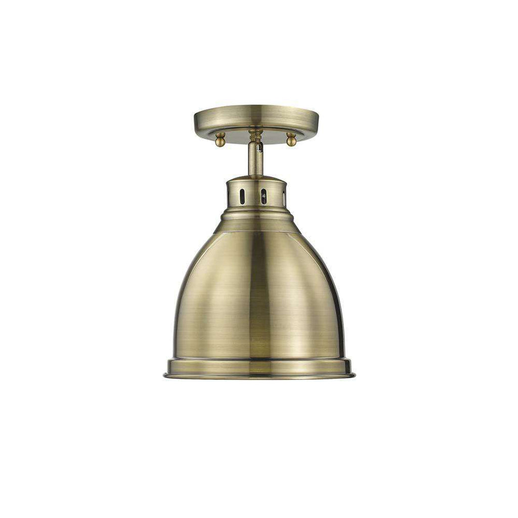 Duncan Flush Mount in Aged Brass with a Aged Brass Shade