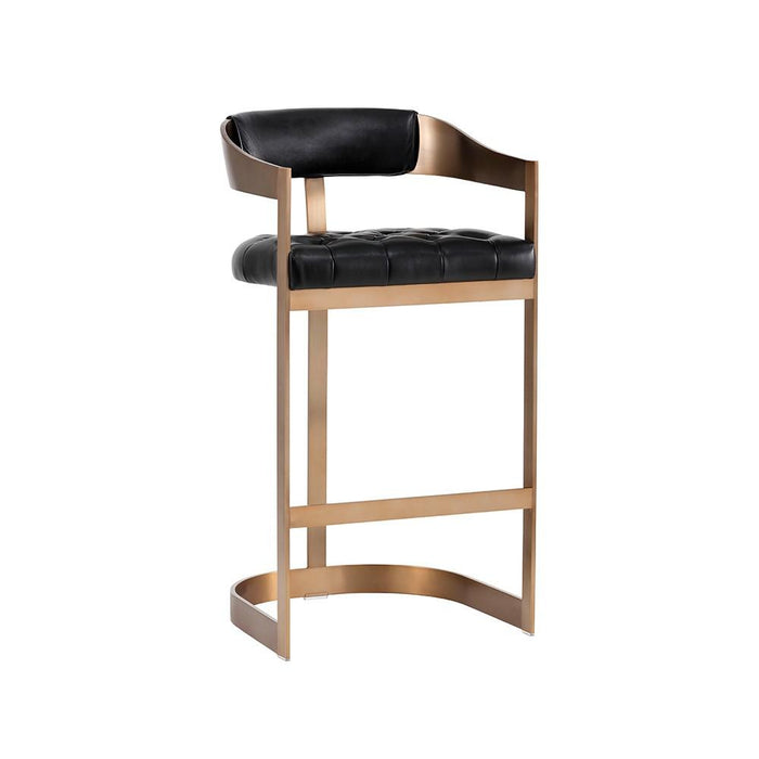 Beaumont Barstool - Antique Brass - Cantina Black (Formerly Nobility Black)