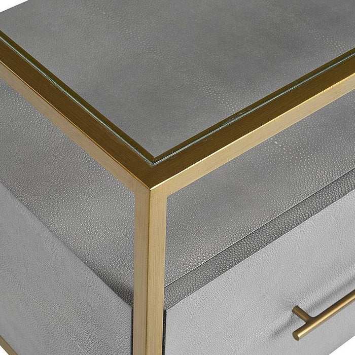 Venice Nightstand - Shagreen Leather