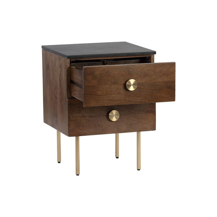 Keely Nightstand - Black Marble / Walnut