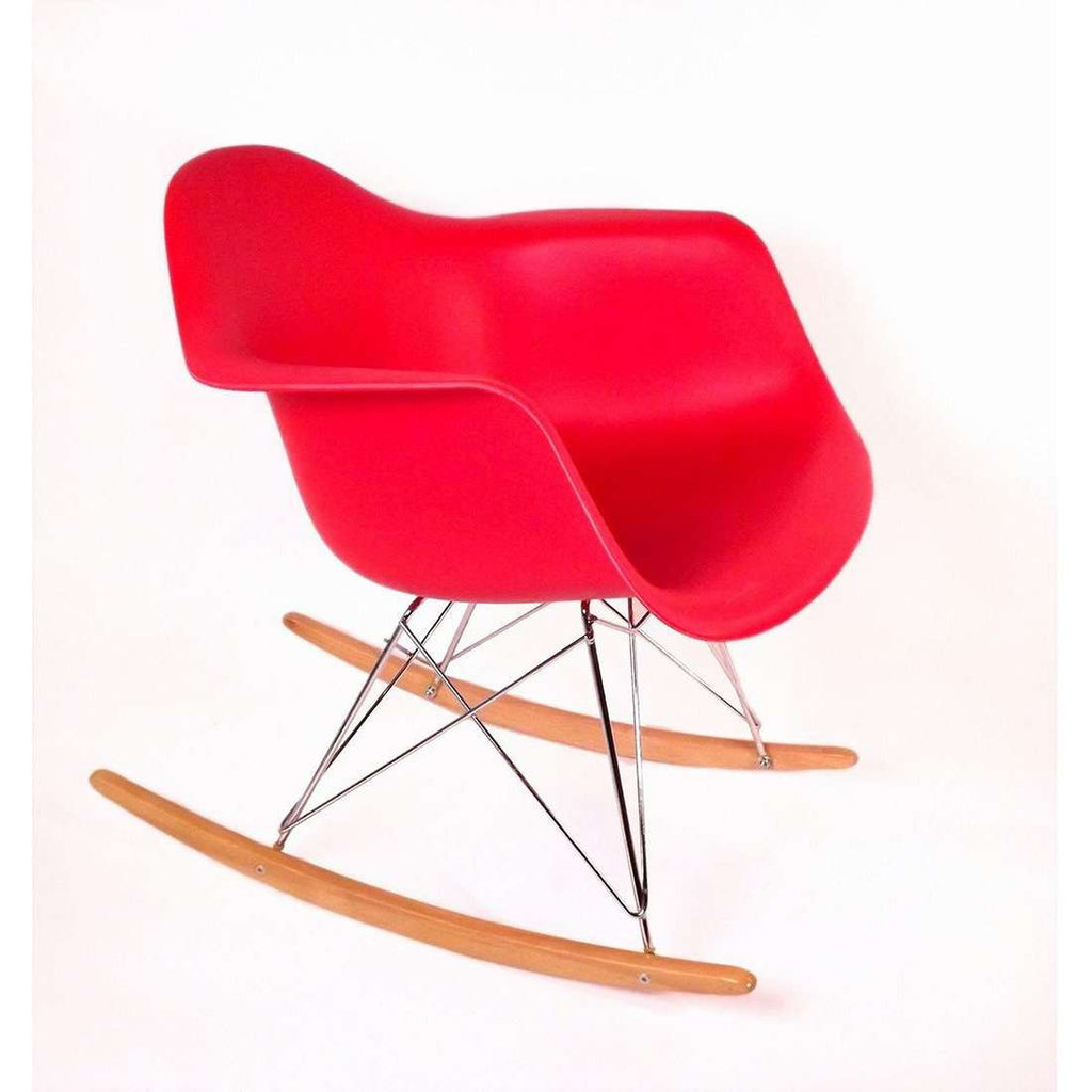 Mid-Century Modern Reproduction RAR Molded Plastic Rocking Chair - Red Inspired by Charles and Ray E.
