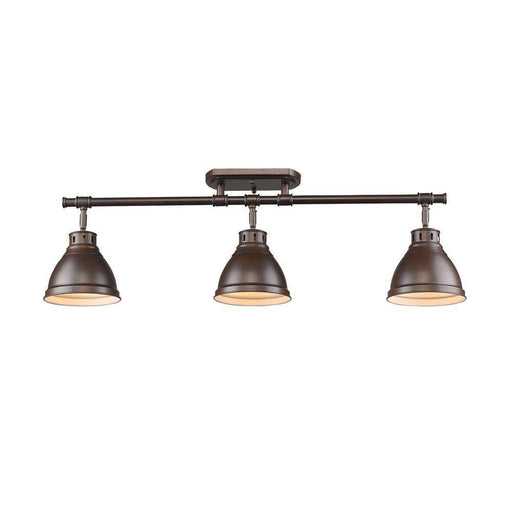 Duncan 3 Light Semi-Flush - Track Light in Rubbed Bronze with Rubbed Bronze Shades