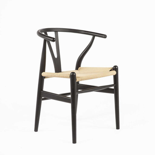 Mid-Century Modern Reproduction CH24 Wishbone Y Chair - Black with Natural Seat Inspired by Hans Wegner