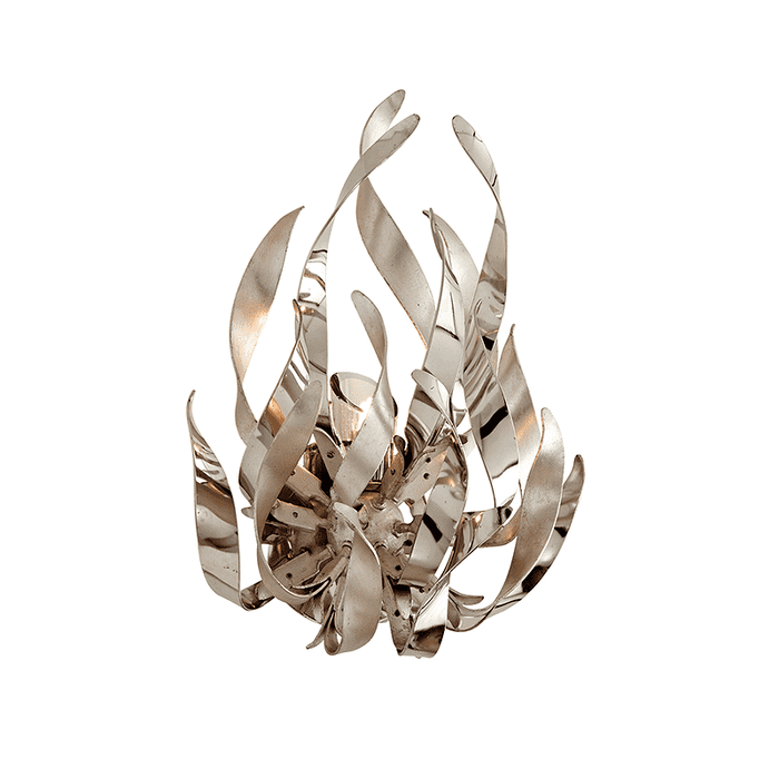 Graffiti 1Lt Wall Sconce Silver Leaf Polished Stainless