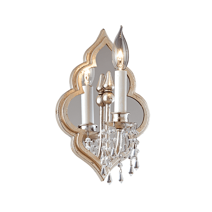 Bijoux 1Lt Wall Sconce Silver Leaf With Antique Mist