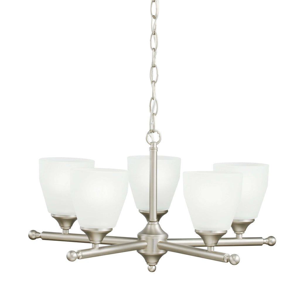Ansonia Chandelier 5 Light - Brushed Nickel
