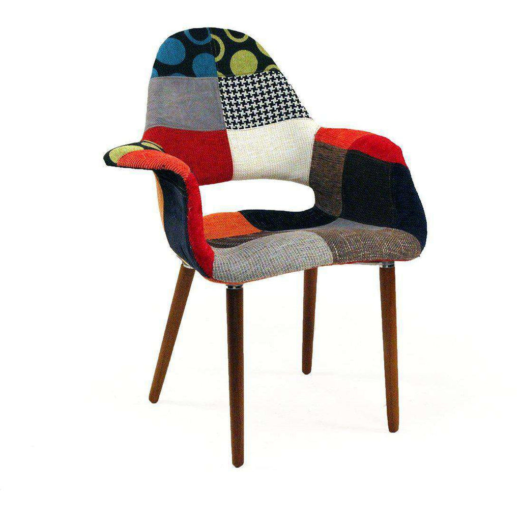 Mid-Century Modern Organic Chair Patchwork Inspired by Charles and Ray E. and Eero Saarinen