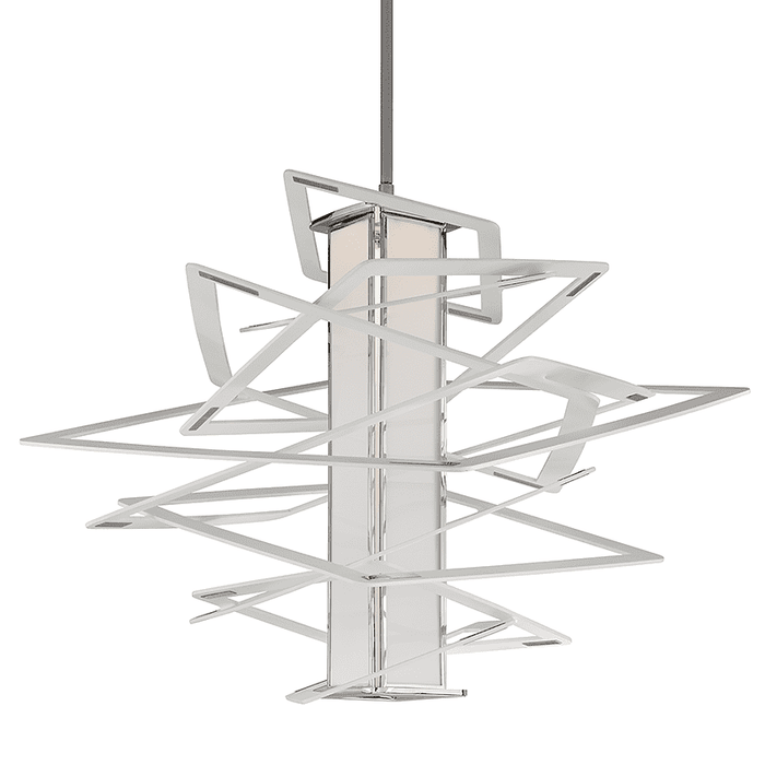 Tantrum 1Lt Pendant Extra Large White White With Polished Stainless