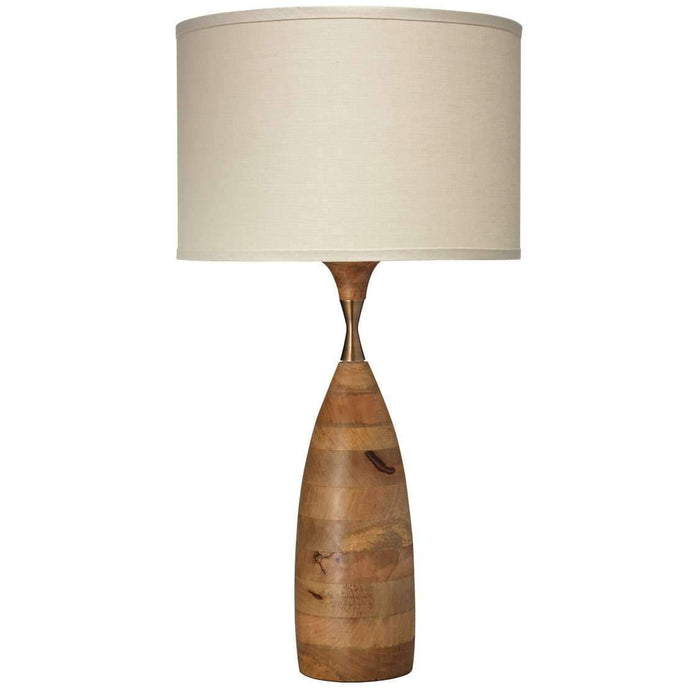 Amphora Table Lamp in Natural Wood with Medium Drum Shade in Stone Linen