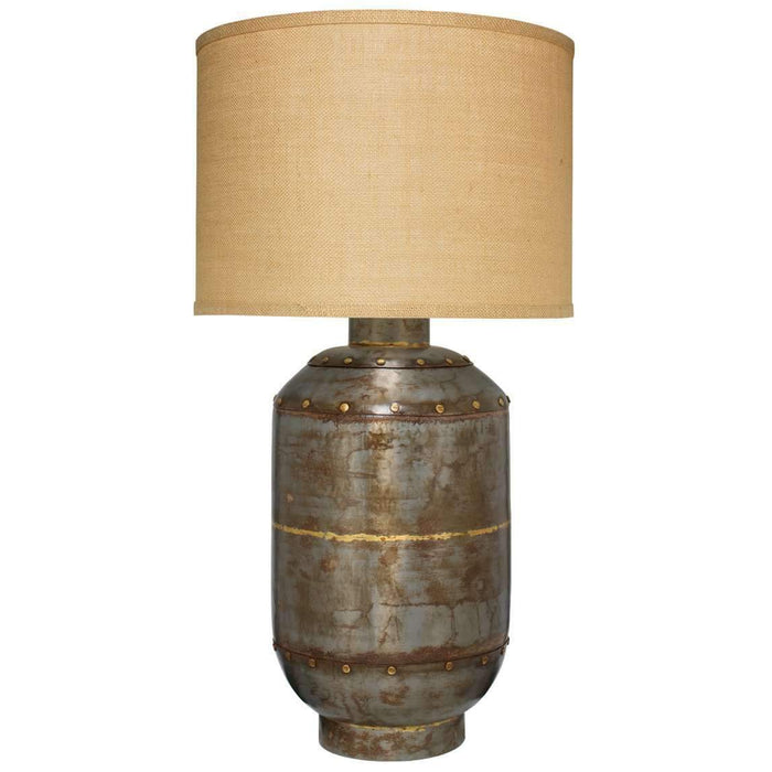 Caisson Table Lamp, Extra Large in Gun Metal with Large Drum Shade in Natural Burlap