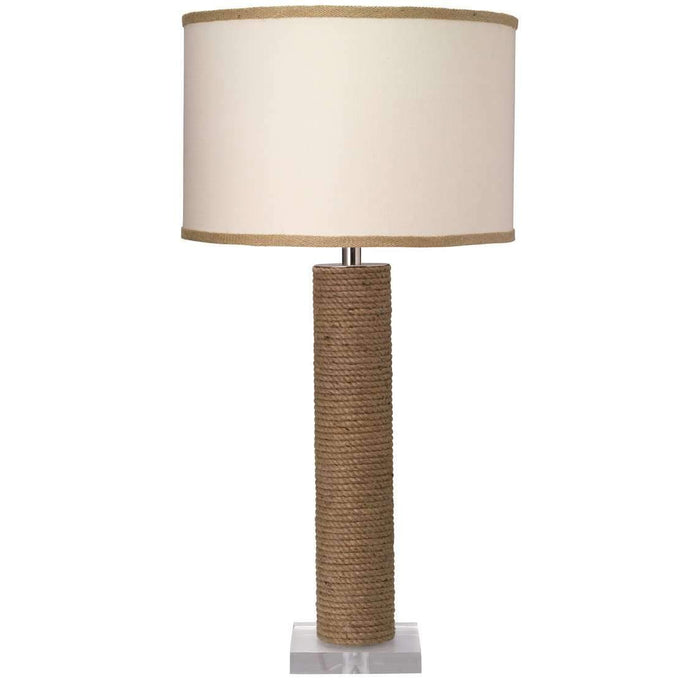 Cylinder Rope Table Lamp in Jute with Medium Drum Shade in White Linen with Natural Burlap Trim