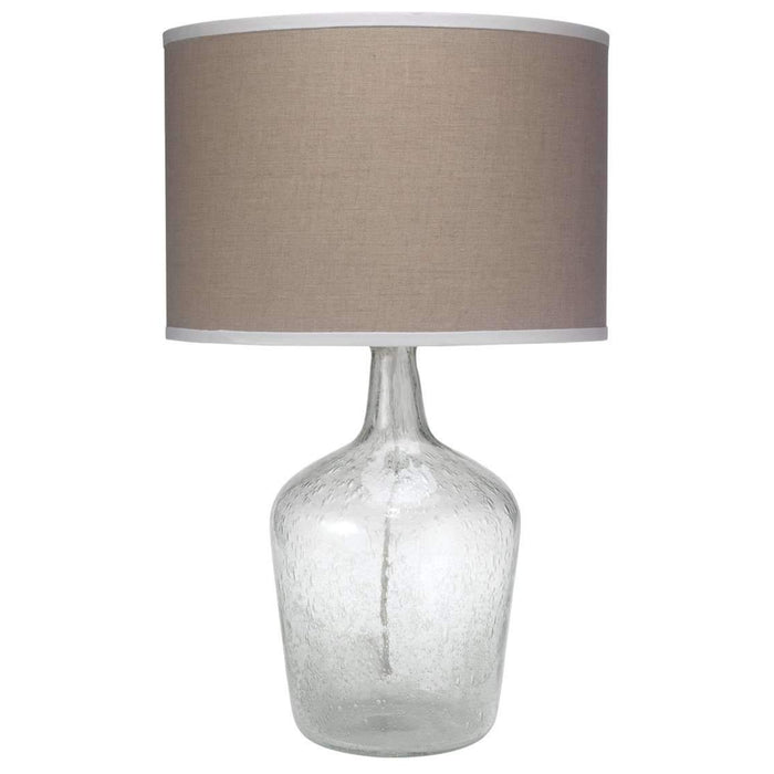 Plum Jar Table Lamp, Medium in Clear Seeded Glass with Classic Drum Shade in Natural Linen with White Linen Trim