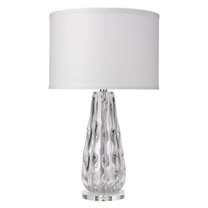 Laurel Table Lamp in Clear Glass with Medium Drum Shade in White Linen