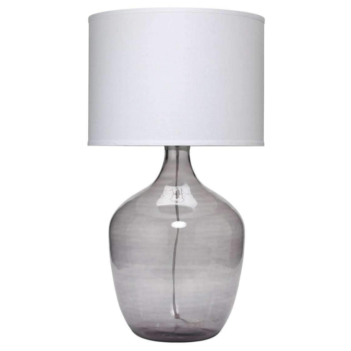 Plum Jar Table Lamp, Extra Large in Grey Glass with Large Drum Shade in White Linen