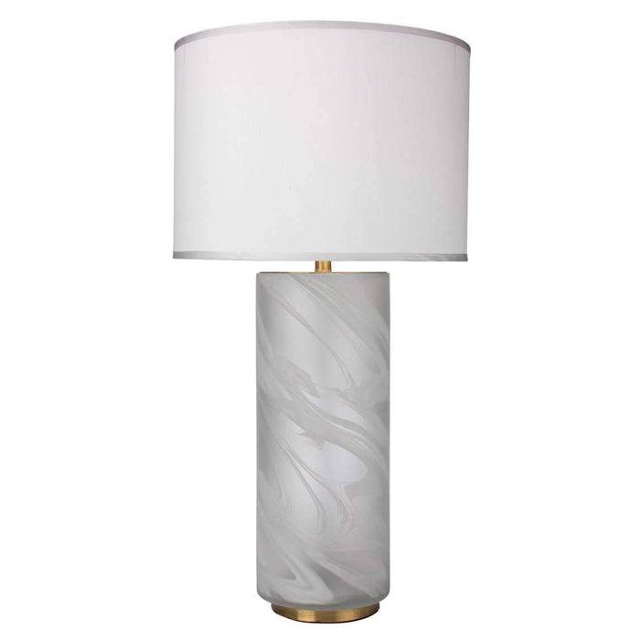 Streamer Table Lamp, Large in White Swirl Glass with Large Drum Shade in White Silk