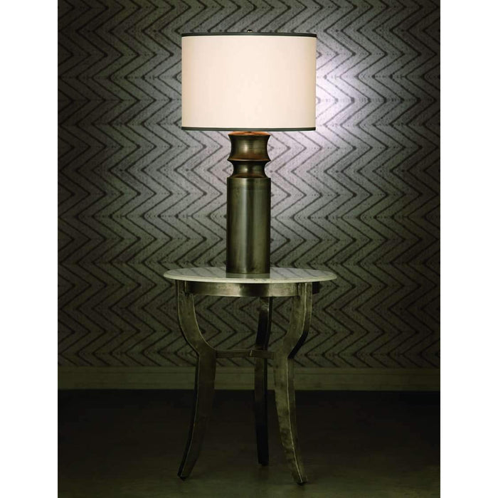 Tower Table Lamp in Gun Metal Resin with Large Drum Shade in Sea Salt Linen