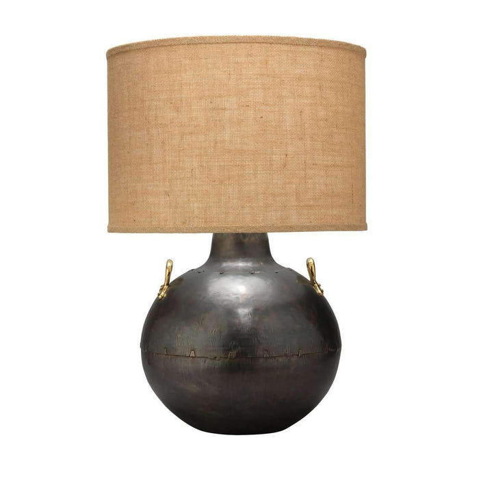 Two Handled Kettle Table Lamp in Iron with Classic Drum Shade in Natural Burlap