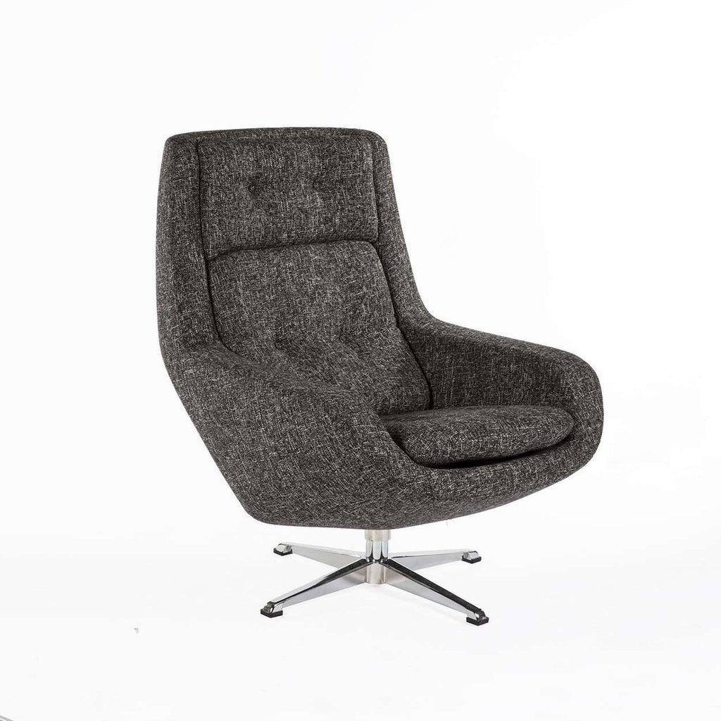 Modern Konni Lounge Chair - Black Twill