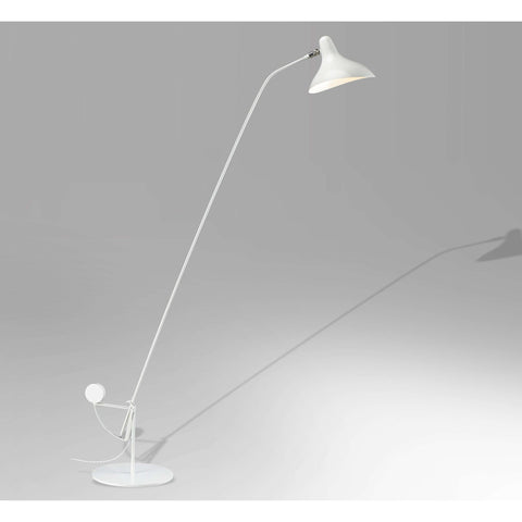 Mid-Century Modern Mantis BS1 Floor Lamp - White with Round Base