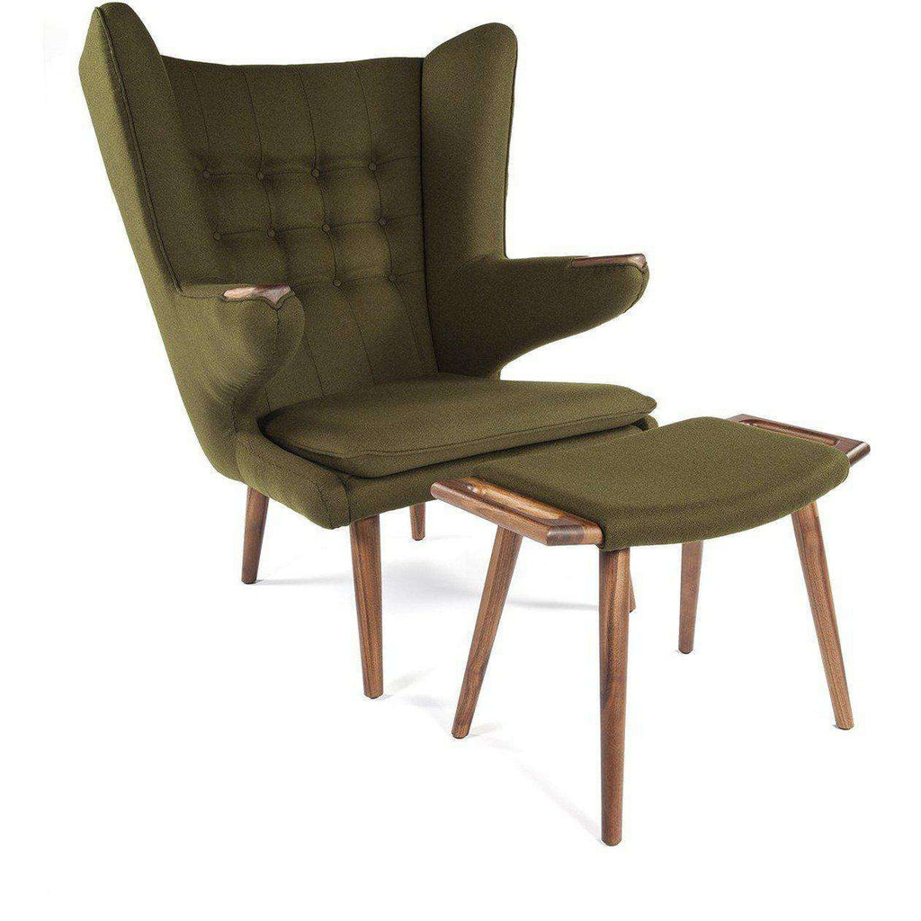Hans Wegner PP19 Papa Bear Chair and Ottoman - Green
