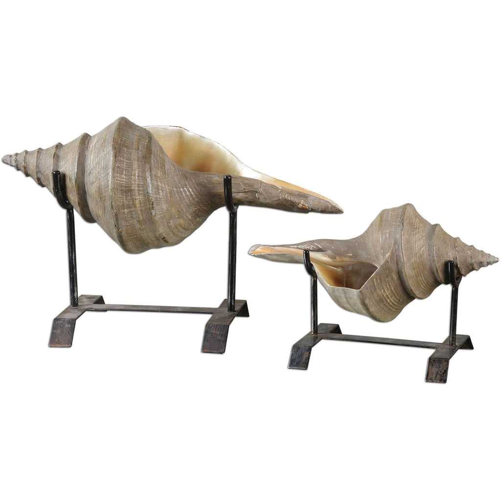 Uttermost Conch Shell Sculpture, Set/2