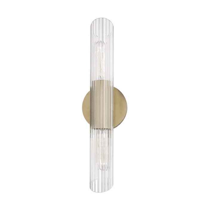 Cecily 2 Light Small Wall Sconce - Aged Brass