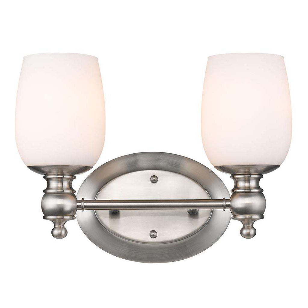 Constance 2 Light Bath Vanity in Pewter with Opal Glass