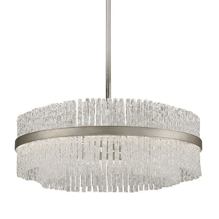 Chime 12Lt Pendant Silver Leaf Polished Stainless