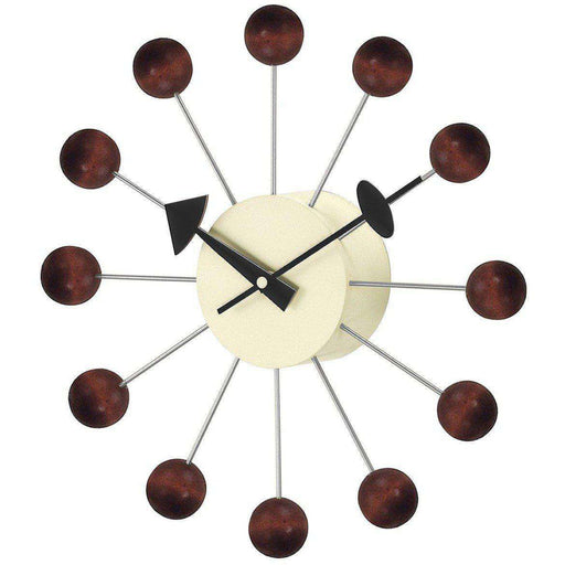 Mid-Century Modern Reproduction Ball Clock - Walnut Inspired by George Nelson