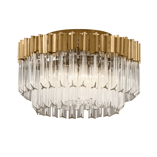 Charisma 3Lt Semi Flush Gold Leaf W Polished Stainless