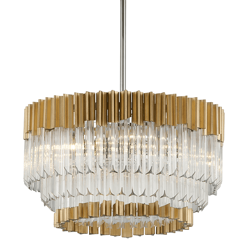 Charisma 10Lt Pendant Gold Leaf W Polished Stainless