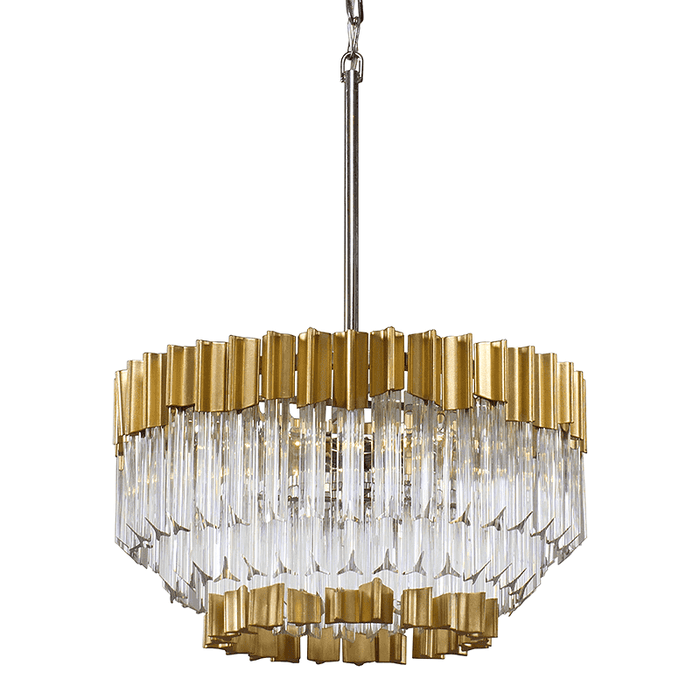 Charisma 5Lt Pendant Gold Leaf W Polished Stainless