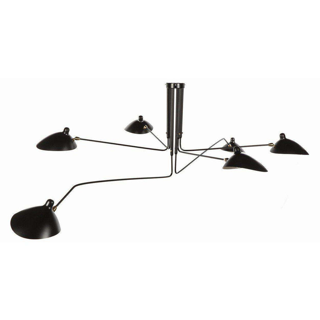 Mid-Century Modern Reproduction MCL-R6 Six Arm Ceiling Lamp - Black Inspired by Serge Mouille
