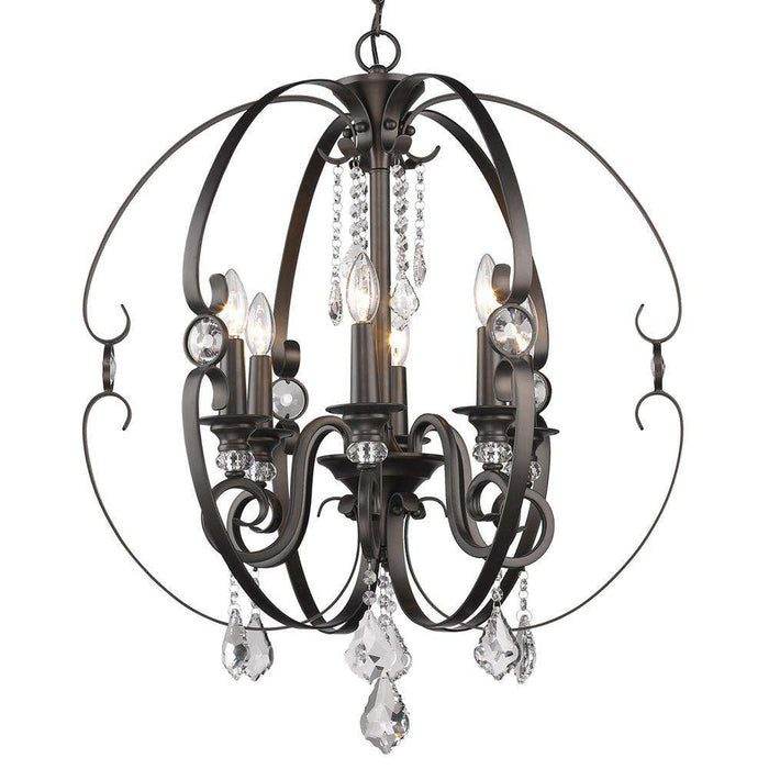 Ella 6 Light Chandelier in Brushed Etruscan Bronze
