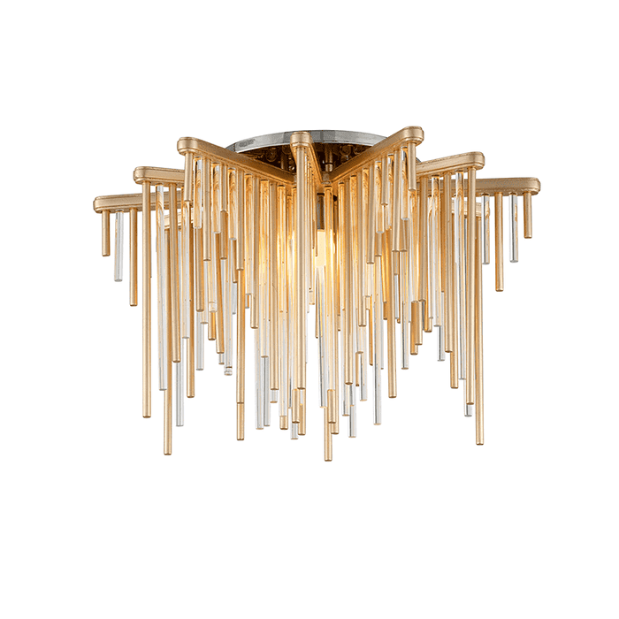Theory 1Lt Ceiling Semi-Flush Gold Leaf W Polished Stainless