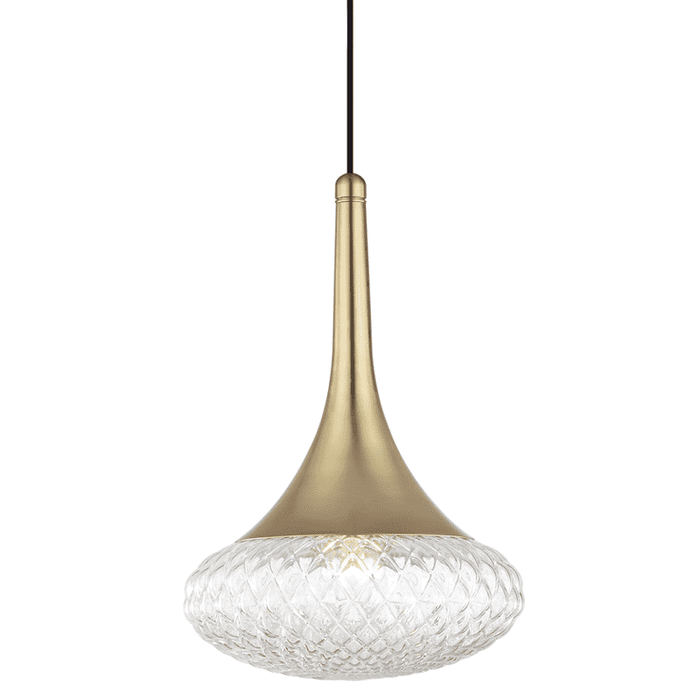 "Bella 1 Light ""D"" Pendant - Aged Brass"