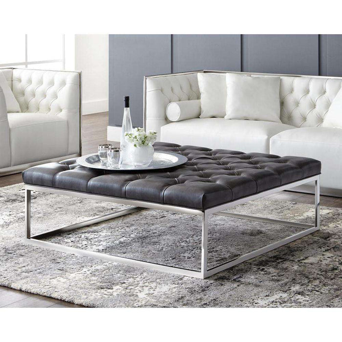 Sutton Square Ottoman Large - Grey Leather