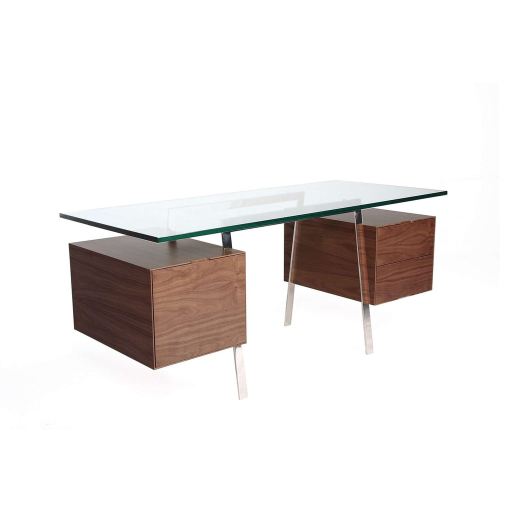 Mid Century Duocube Desk with Glass Top [new product]
