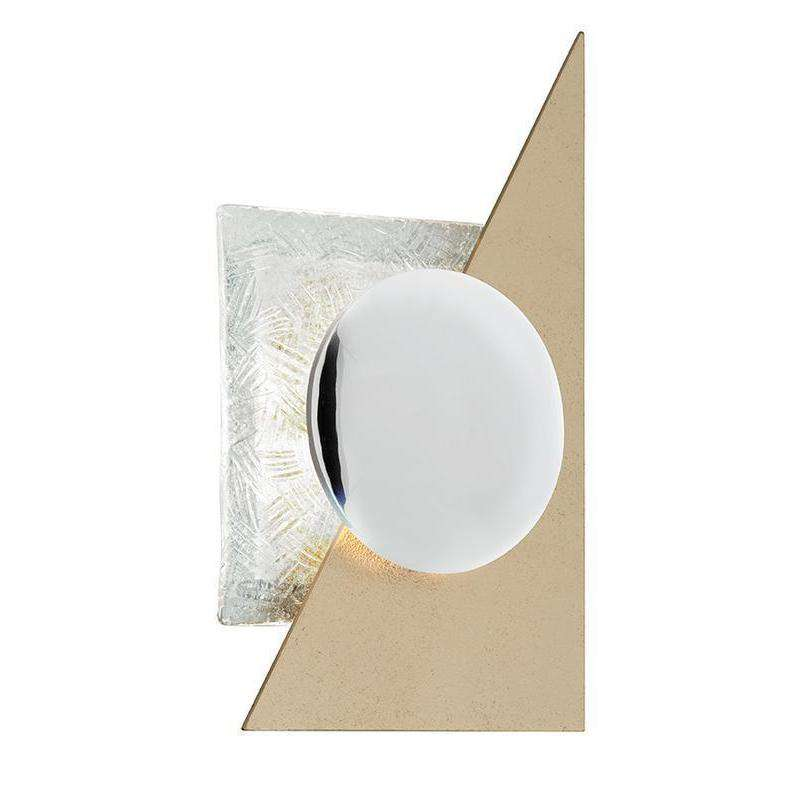 Spinnaker 1Lt Wall Sconce Gold Leaf W Polished Stainless
