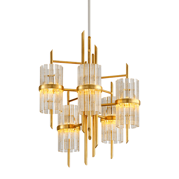 Symphony 5Lt Chandelier Gold Leaf W Polished Stainless