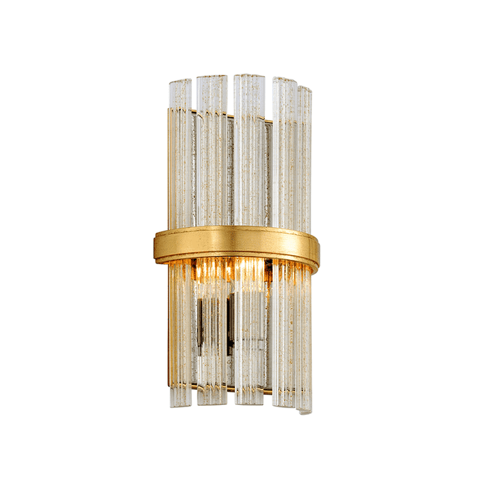 Symphony 1Lt Wall Sconce Gold Leaf W Polished Stainless
