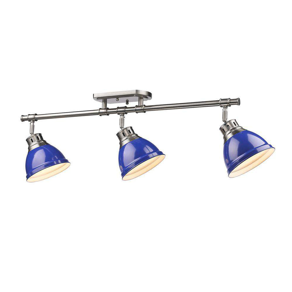 Duncan 3 Light Semi-Flush - Track Light in Pewter with Blue Shades