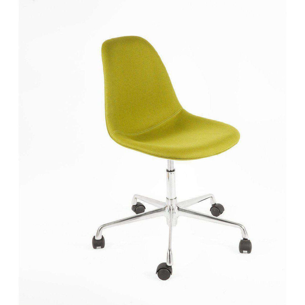 Mid-Century Modern Reproduction Fiberglass Side Shell Chair with Rolling Caster Base - Olive Wool Upholstery Inspired by Charles and Ray E.