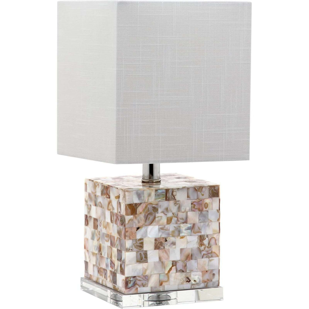 "16""H Short Square Mother Of Pearl With Crystal Base Table Lamp"