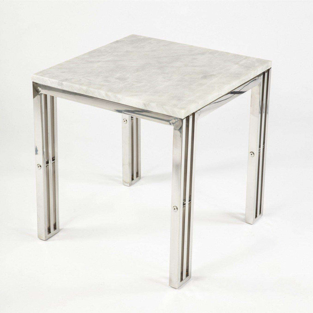 Contemporary Ginette End Table With Carrara Marble and Stainless Steel Frame